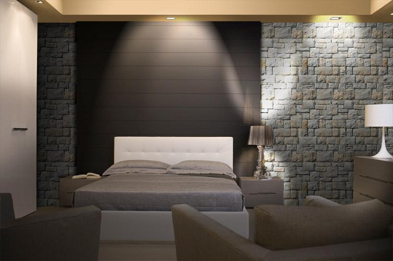 Parete testata letto dipinta letto imbottito con cuscini - Testata letto in cartongesso ...
